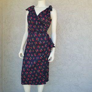 Stop Staring Polka Dot Cherries Midi Wiggle Dress